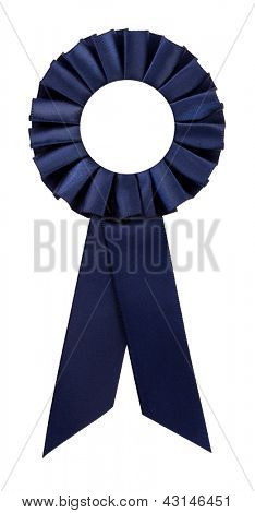 Navy blue award rosette prize ribbon blank