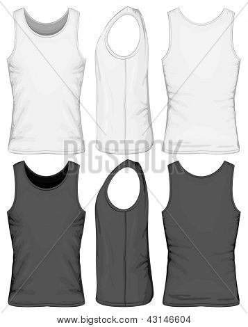 Vector illustration of singlet (front, side, back view)