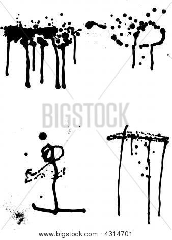 Set Of Ink Blots And Leak.