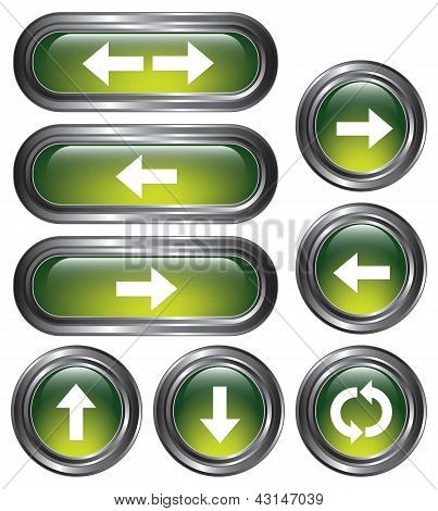 Green Metallic Arrow Buttons