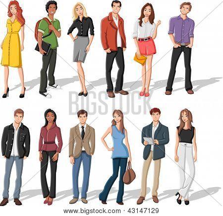 Grupo de dibujos animados de moda de jóvenes