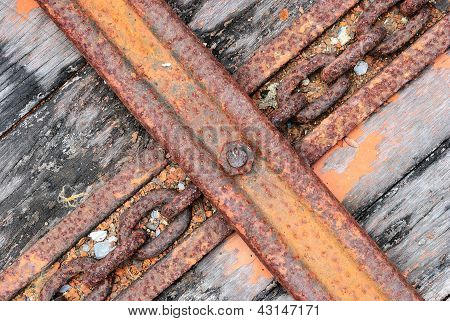 The Old Truck Floor With Chain Line Background