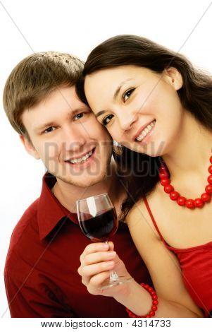Happy Couple Drinking Vine