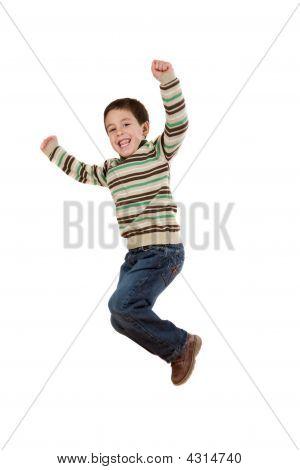 Joyful Little Girl Jumping