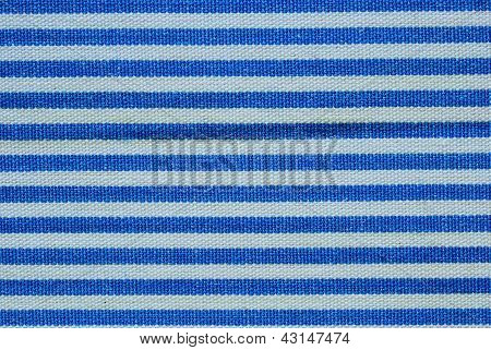 Close Up On Blue And White Line Fabric