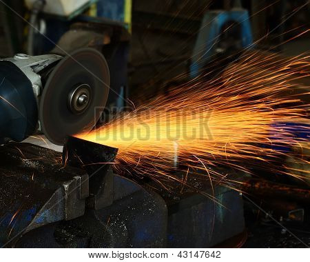 Metal Plate Sawing Close Up