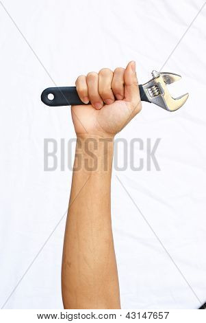 The Strong Hand Hold The Adjustable Wrench
