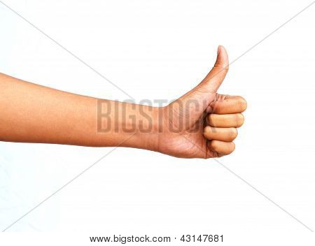 Young Woman Hand Show The Great Symbol