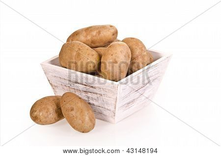 Russet potatoes in container