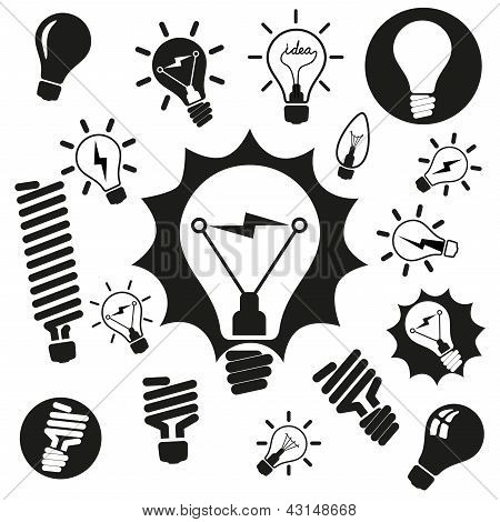 Light bulbs. Bulb icon set