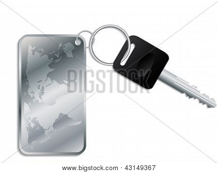 Key With Steel Map Keyholder