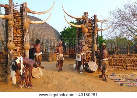 Zulu worriers in Shakaland Zulu Village, South Africa