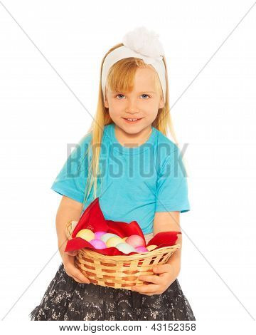 Little Blond Girl With Easter Eggs