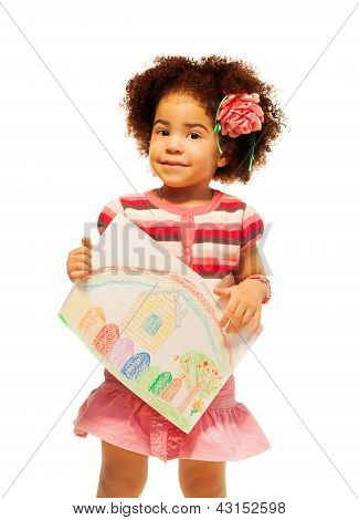 Nice Black Little Girl With Drawing