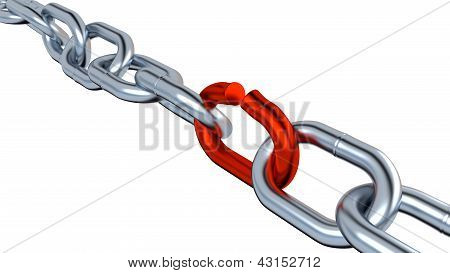 Metallic Chain With One Red Link