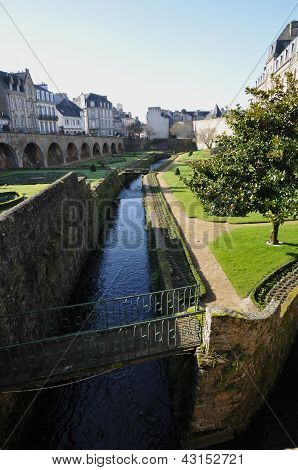 Little River In The Garden Along The Walls Of Vannes City