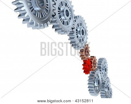 Some Silver Gears With One Red
