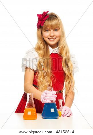 Cute Blond Schoolgirl In Lab