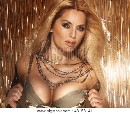 Portrait Of Sexy Blonde Woman With Big Breast.