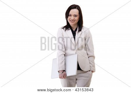 Gorgeous Caucasian Businesswoman With A Laptop In Her Hands Isolated Over White
