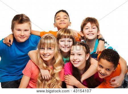 Happy Kids Together Hugging