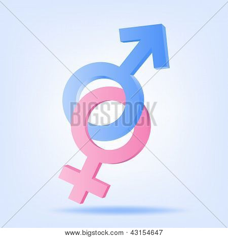 Pink And Blue Symbols Of Mars And Venus. Vector Illustration
