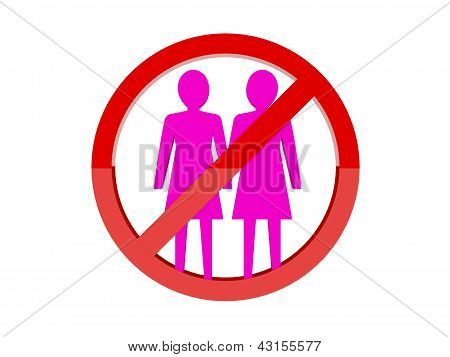 Lesbian not allowed forbidden red sign.