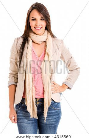 Beautiful casual woman - isolated over a white background