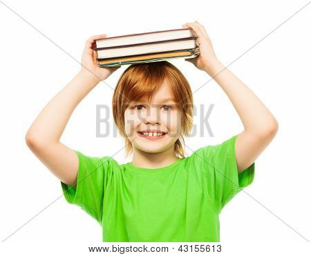 Clever Smart Boy With Pile Of Books