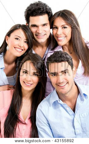 Group of casual people smiling - isolated over a white background