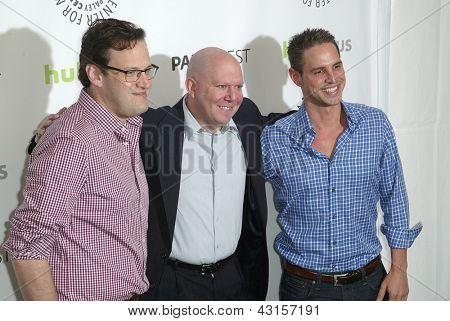 BEVERLY HILLS - MARCH 9: Andrew Kreisberg, Marc Guggenheim and Greg Berlanti arrive at the Paleyfest