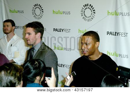 BEVERLY HILLS - MARCH 9: Stepehen Amell and David Ramsey are intereviewed by the media at the 2013 Paleyfest