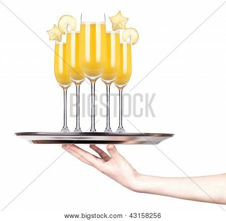 Tray Full Of Alcohol. Celebration Concept
