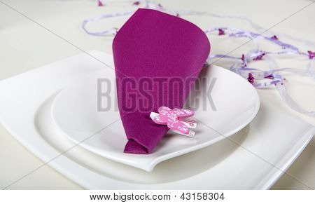 Element Of Table Set Decoration In Purple