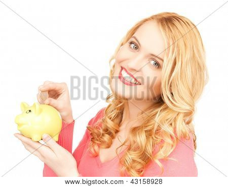 picture of lovely woman with piggy bank and cash money