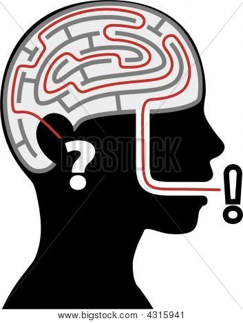 Maze Puzzle In Silhouette Person Head Question Answer