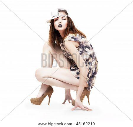 Lifestyle. Glam. Nifty Ultramodern Woman Sitting In Heels. Fashion & Glamor