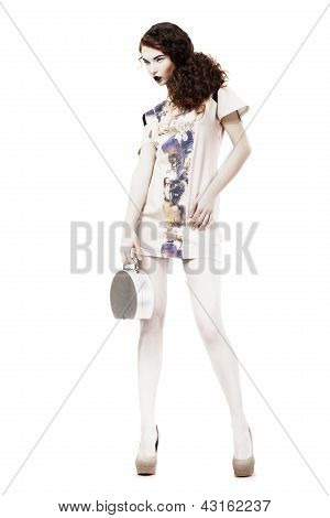 Glamor. Graceful Svelte Slim Woman In Trendy Dress And Handbag. Spring Time