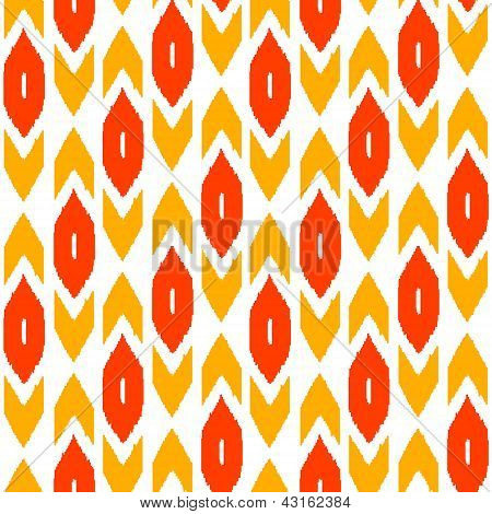 Ikat traditional middle east fabric in red seamless pattern, vector