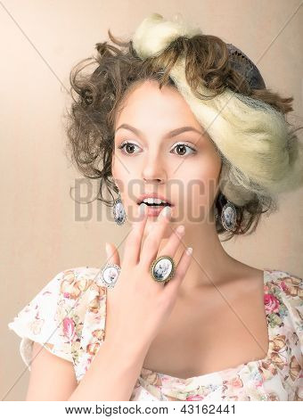 Astonishment. Portrait Of Surprised Woman In Retro Dress. Daze