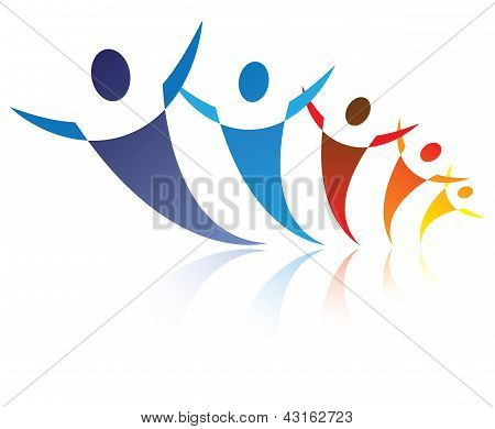 Colorful Illustration Of People Together Being Positive And Happy, The Graphic Represents Symbols/ic