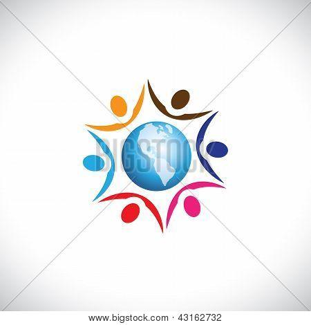 Ilustração de pessoas, unindo-se com um ícone de World Center. O gráfico representa Multi Racia