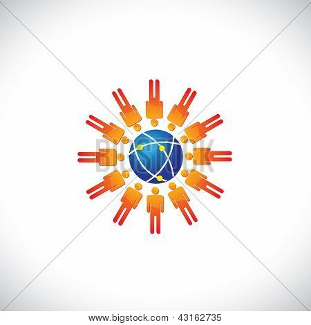 Illustration Of Community Of People With A Center Globe Icon. The Graphic Represents People Communit