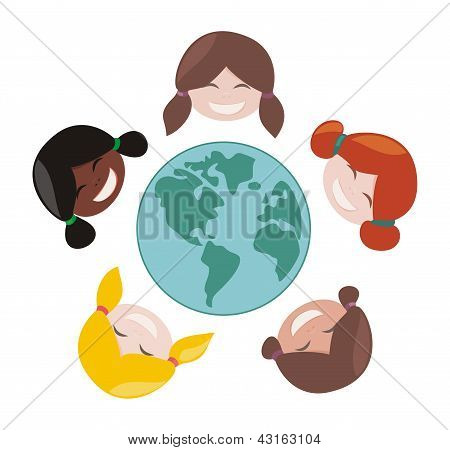 Happy, smiling multicultural girls group around the world. Vector illustration isolated
