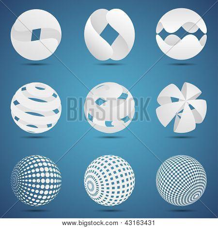 Branco esferas 3d