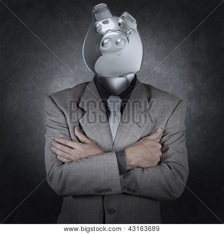 Piggy Bank Business Man Concept Creative