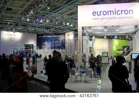 Hannover - March 9: Stand Of Euromicron On March 9, 2013 At Cebit Computer Expo, Hannover, Germany.