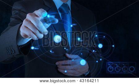 Businessman Hand Drawing Virtual Chart Business