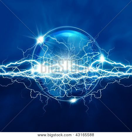 Magic Crystal Sphere With Electric Lighting, Abstract Backgrounds