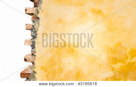 Part of brick house wall isolated on white.